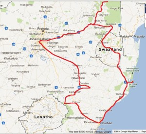 South Africa Route Map 2012